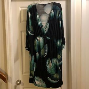 Mossimo Blue Green Dress with 3/4 Sleeves L1